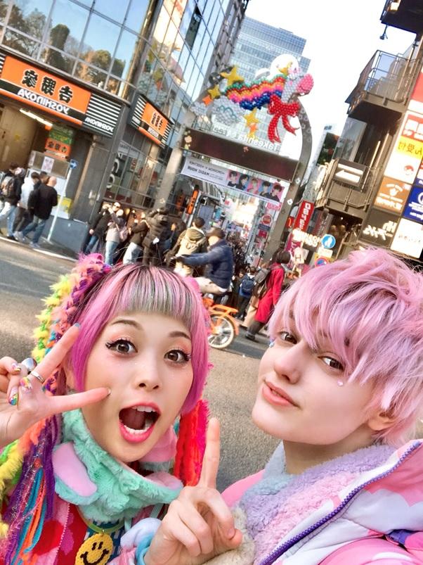 Haruka & NYUN at Takeshita St Entrance Gate, Harajuku Tokyo
