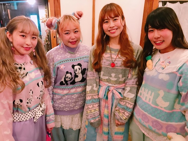Fancy-kei Party - Some of the party attenders wearing some rare vintage fancy sweaters.