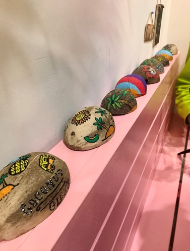 Hand painted coconut shells at Coconut Glen's Omotesando. Display.